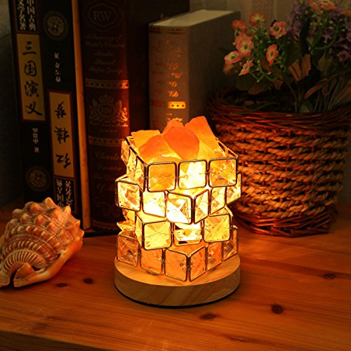 SODIAL Himalayan Salt Lamp,Natural Hymalain Salt Rock in Crystal Basket with Dimmer Switch,UL-Listed Cord &Wood Base US Plug by SODIAL (Image #1)
