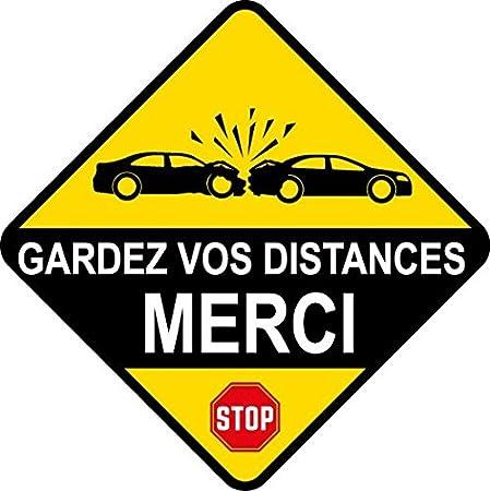 Sticker Panneau Gardez Vos Distances MERCI 10cm x 10cm