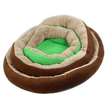 Marrón, Verde, Beige cálido felpa 3 niveles Mat Pet Doghouse Caseta Pad: Amazon.es: Productos para mascotas