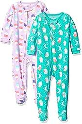 Carter\'s Baby Girls\' Toddler 2-Pack Fleece Pajamas, Cupcakes/Owl, 2T