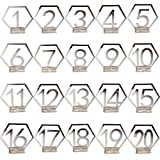 BESTOYARD 1-20 Numbers Wedding Table Numbers Acrylic Mirror Silver Placeholders Table Stands Cards Numbers Plate Decors for Wedding Party Birthday