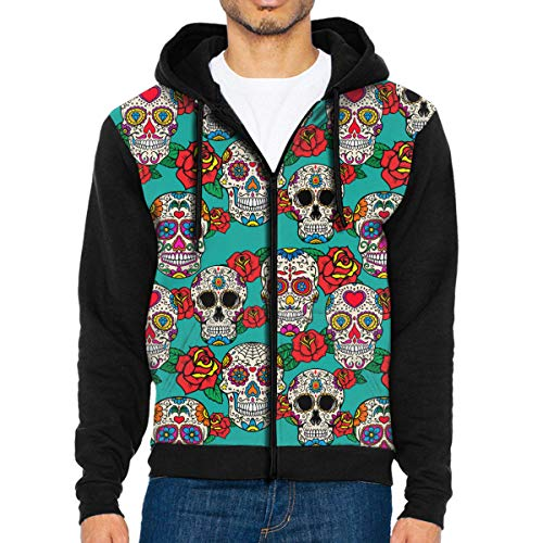 Man's Casual Garb Hoodies Day of The Dead Sugar Skull Full Zip Hooded Men's Sweatshirt Black -