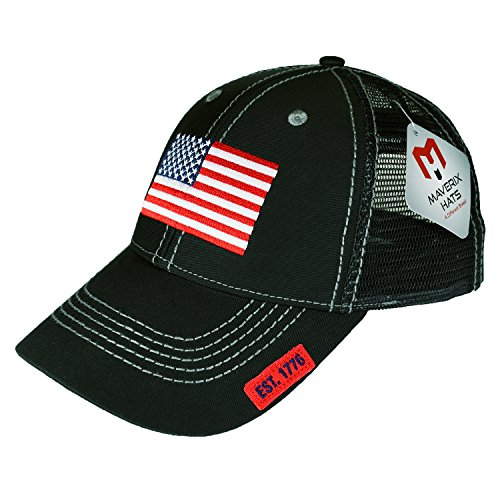 American Flag Hat Snapback - Black Mesh Back Hats Mesh Snapbacks Hats Snap Cap Cool Snapbacks Cheap Mens Meshed Baseball Caps USA Trucker Cap Snapback USA Man Condor Dad Womens Best Profile Custom