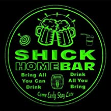 4x ccq41094-g SHICK Family Name Home Bar Pub Beer Club Gift 3D Engraved Coasters