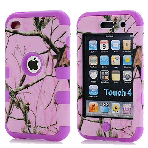 Kecko®Defender Tough Armor Tree Camo Shockproof Dual Layer High Impact Camouflage Hunting Tree Forest Hybrid Hard Suitable Fit Case Cover For ipod Touch 4 4th-Forest/Tree/Leaves On The Core