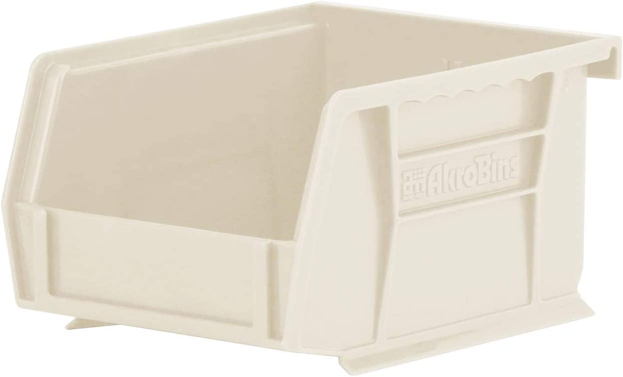 Akro-Mils 30210 AkroBins Plastic Storage Hanging Stacking Containers, (5-Inch x 4-Inch x 3-Inch), Stone, (24-Pack)