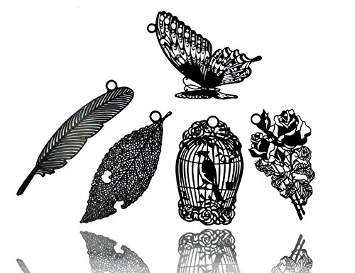 5 Pcs Black Natrural Metal Bookmarks Set with Mini envelopes,JoyTong Black Hollow Book Mark - Metal Mini Envelope