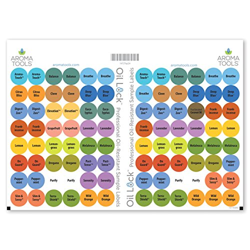 Popular Blend - Oil Lock Circle Labels for Sample Vials of 24 Most Popular Oils and Blends (Set of 96)