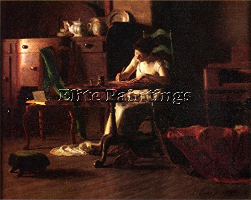 ANSCHUTZ THOMAS P WOMAN WRITING TABLE ARTIST PAINTING OIL CANVAS REPRO ART DECO 16x20inch