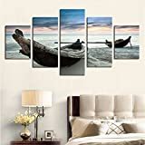 [LARGE] Premium Quality Canvas Printed Wall Art Poster 5 Pieces / 5 Pannel Wall Decor Beach Fishing Boats Painting, Home Decor Pictures - With Wooden Frame