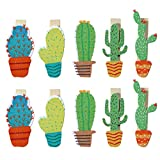 Tinksky 50pcs Cactus Wooden Clothespins Crafts Photo Clips with Hemp Rope