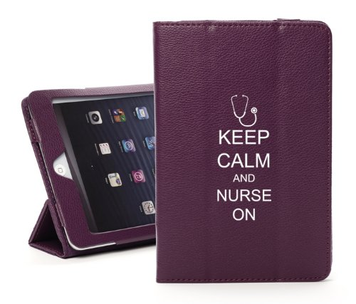 For Apple iPad Mini 4 Purple Leather Magnetic Smart Case Cover Keep Calm and Nurse On