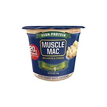 Muscle Mac | Macaroni and Cheese Aged Sharp White Cheddar Microwavable Cups,  20 Grams of
