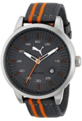PUMA Men's Cool Stainless Steel Watch with Striped Band
