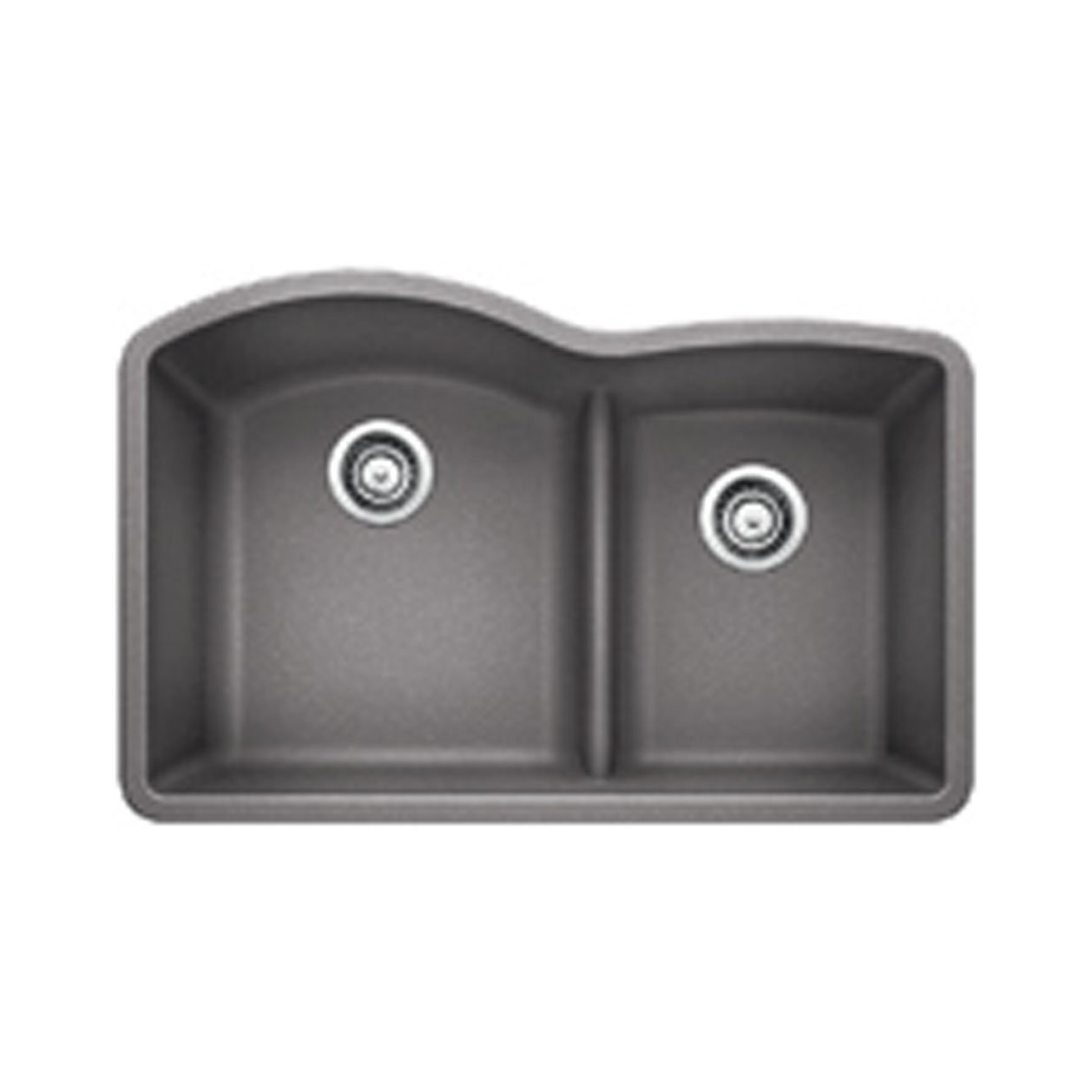 Blanco FBA 441592 Diamond 1.75 Low Divide Under Mount Double Bowl Kitchen Sink, Large, Metallic Gray