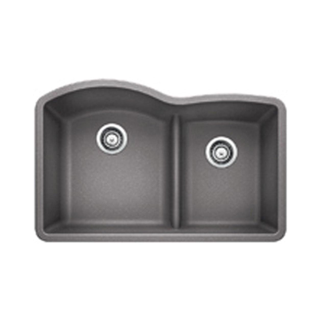 Blanco 441592 Diamond 1.75 Low Divide Under Mount Double Bowl Kitchen Sink, Large, Metallic Gray