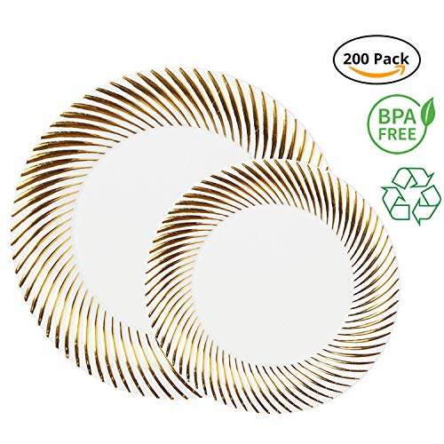 Party Joy 200-Piece Plastic Dinnerware Set | Swirl Collection | (100) Dinner Plates & (100) Salad Plates | Heavy Duty Premium Plastic Plates for Wedding, Parties, Camping & More (Gold Swirl)