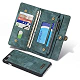 iPhone 6Plus/6sPlus Large Wallet Case,Multi-function 2 in 1 Detachable Zipper Design Magnetic Buttons Genuine Leather Folio Flip Cover with Card Slots(Blue)