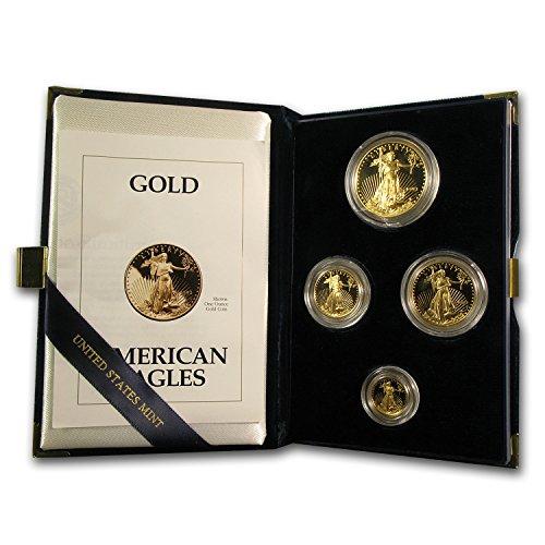 1993 P 4-Coin Proof Gold American Eagle Set (w/Box & COA) Brilliant Uncirculated