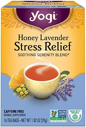 Yogi Honey Lavender Stress Relief Tea, 16 Tea Bags, Packaging May Vary