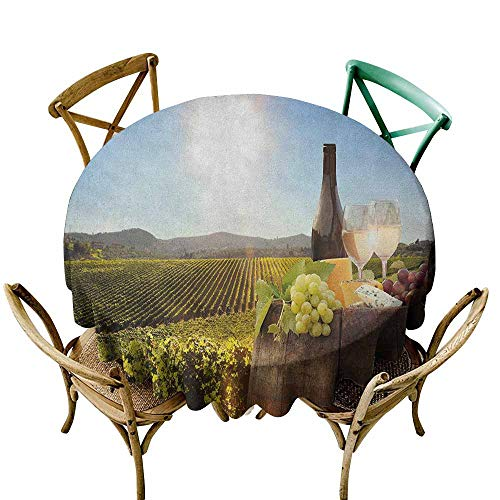 Sunnyhome Indoor/Outdoor Round Tablecloth Wine White Wine with Barrel on Famous Vineyard in Chianti Tuscany Agriculture Green Brown Pale Blue for Events Party Restaurant Dining Table Cover 43 INCH