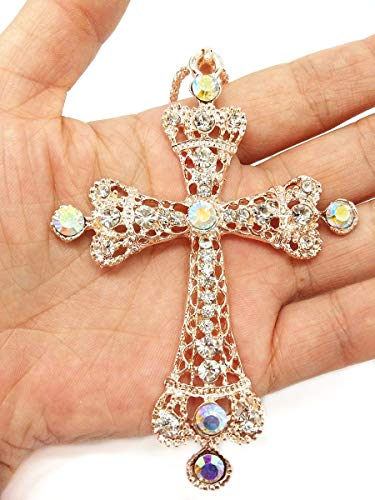 QTMY Diamond Cross Pendant Long Necklace for Women Jewelry