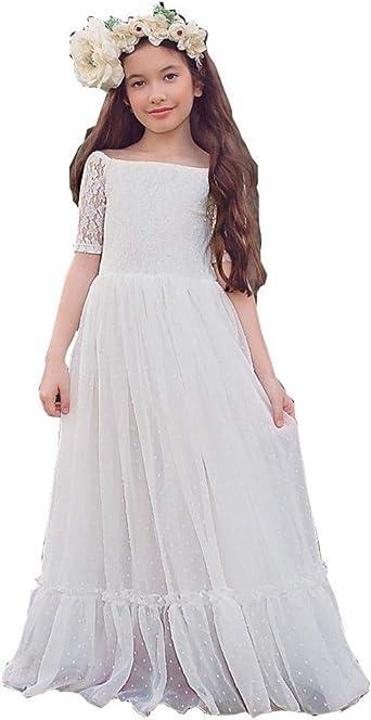Junior Bridesmaid Dress Bohemian Wedding Bohemian white lace dress Boho Flower Girl Dress Bohemian flower girl First Communion Dress