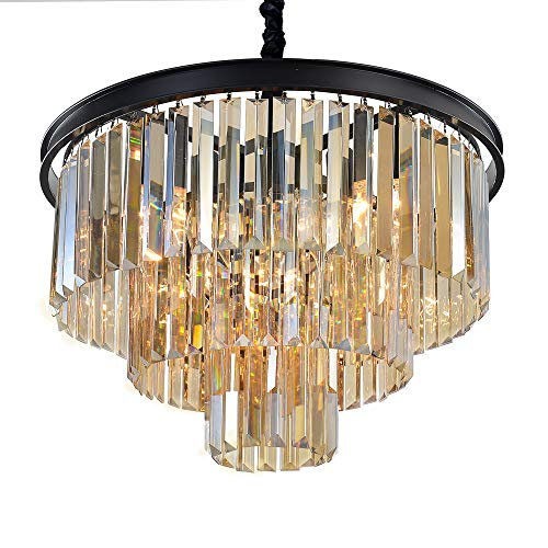 Cheap MEEROSEE Crystal Chandeliers Modern Chandelier Island Lighting 8 Lights Raindrop Pendant Ceiling Light Fixture 3-Tier for Dining Room Living Room Kitchen Bedroom W19.7″ Cognac Color Crystal