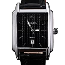 The new style square men's leather waterproof watch with calendar - black
