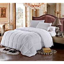 Luxury Bedding's California (Cal) King Size Luxurious 1500 Thread Count Siberian GOOSE DOWN Comforter, 100% Egyptian Cotton Cover, Solid White Color, 750 Fill Power, 50 Oz Fill Weight