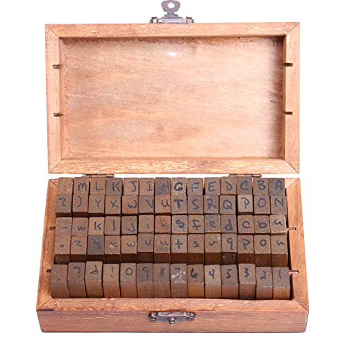 (70 Pcs Classic Vintage Retro Wooden DIY Number and Alphabet Letter Seal with Wooden Box Handwriting Fonts Stamps Regular Script Letters)