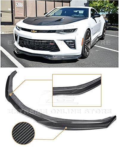 Extreme Online Store for 2016-2018 Chevrolet Camaro SS All Models | EOS T6 Style Add-On Front Bumper Lower Lip Splitter (Carbon Fiber) ()