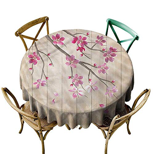 "HeKua Nature,Summer Outdoor Tablecloth Cherry Twigs with Petals D 36"" Round Tablecloth"