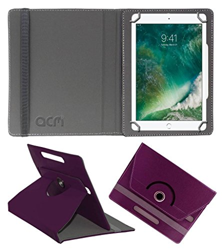 Acm Rotating Leather Flip Case Compatible with Apple Ipad 2017 9.7 Tablet Cover Stand Purple