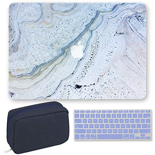 GMYLE MacBook Air 13 Inch Case A1466 A1369 Old Version 2008-2017 3 in 1 Bundle, Plastic Hard Shell, Fabric Storage Bag Travel Pouch for Accessories, Keyboard Cover Set - Blue Stone Marble