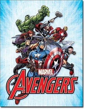 Marvel Comics The Avengers - Cartel de Lata, 40,64 x 31,75 ...
