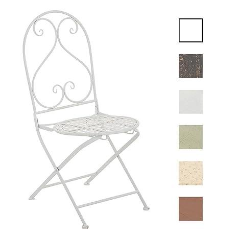 CLP Silla de Jardín Plegable Vahan I Silla de Exterior Plegable en Hierro I Silla de Exterior en Estilo Rústico I Color: Crema Envejecida