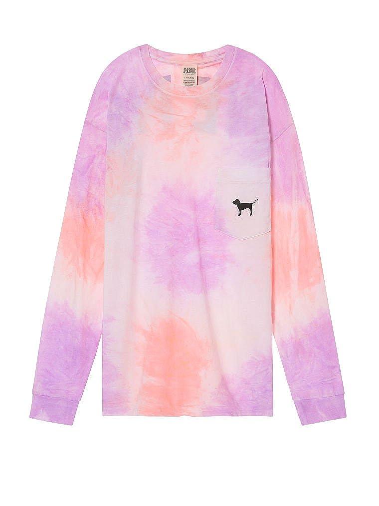Victorias Secret PINK NWT Graphic Short Sleeve Campus Tye Dye Tshirt LARGE
