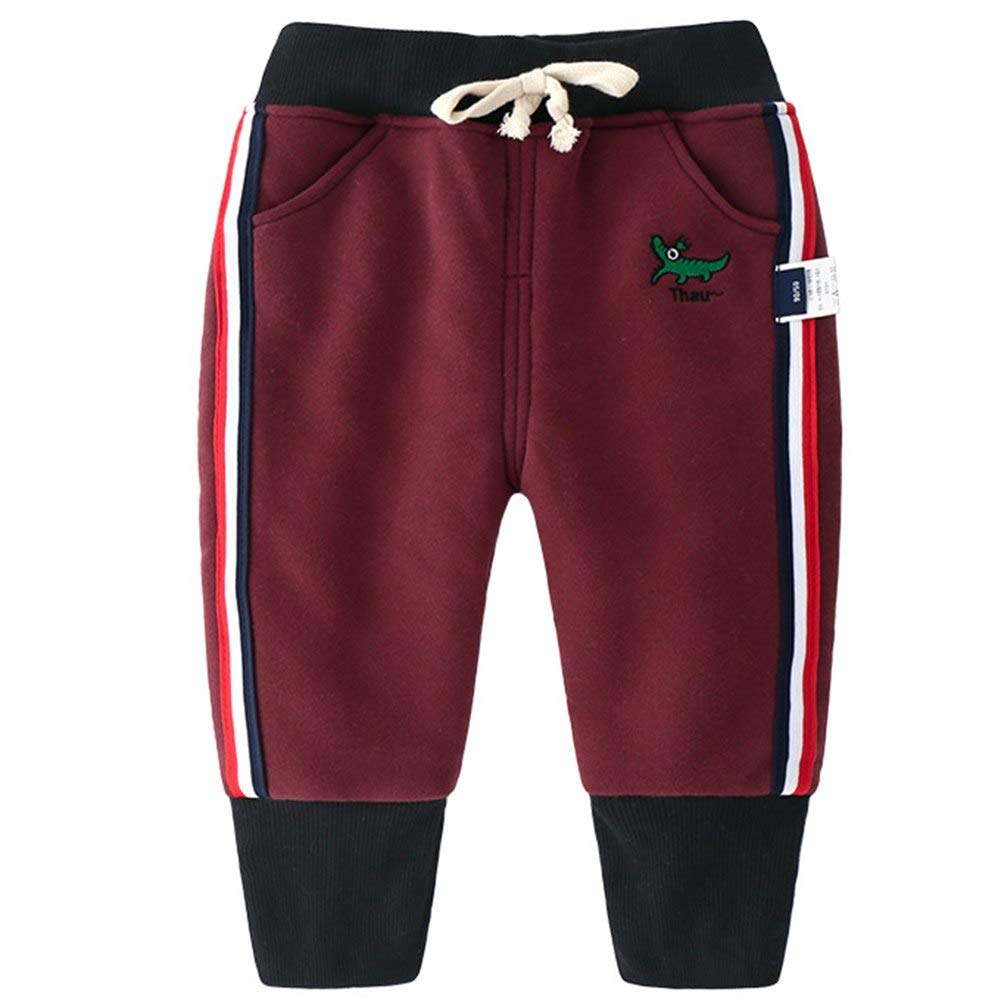 Happy childhood Baby Boys Cotton Elastic Waist Winter Baby Pants Warm Trousers Bottoms Sweatpants red 110