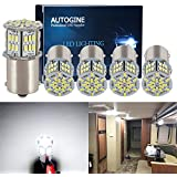 AUTOGINE 5PCS 600 Lumens Super Bright 9-30V 1156 1141 1003 1073 7506 BA15S LED Bulbs 3014 54-EX Chipsets Replacement Interior Lights for RV, Camper, Trailer, Motorhome, 5th Wheel, 6000K Xenon White