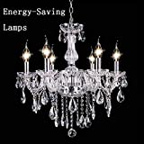 Classic Vintage Crystal Candle Chandeliers Lighting 6 Lights Pendant Ceiling Fixture Lamp for Elegant Decoration (US Stock) (6-Light)