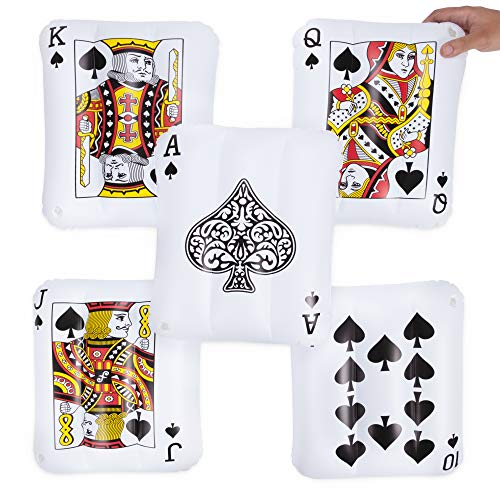 "5-pack Royal Flush Mini Inflatable Playing Cards | Includes Ace, King, Queen, Jack, 10 of Spades | 13"" PVC Blow Up Pool Floaties for Vegas Casino Theme Party Decorations, Swimming Pool Fun, and More"