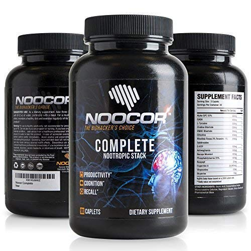 Noocor Complete: 14 Nootropics in One Stack | Extra Strength | Focus, Memory & Mental Clarity | Noopept, Alpha-GPC, Huperzine A, 5-HTP, DMAE, Bacopa Monnieri, Ashwagandha & More! 90ct Bottle