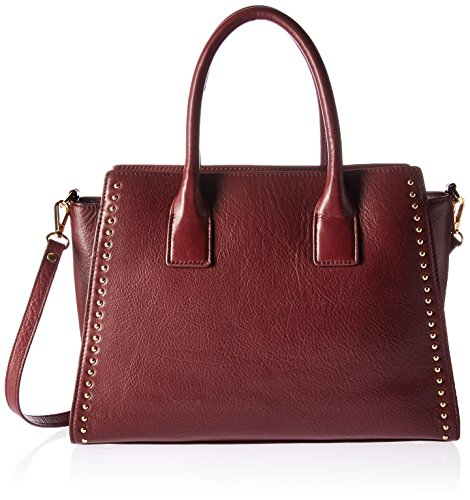 The Fix Audrey Medium Studded Leather Satchel with Top Zip, Wine by The Fix