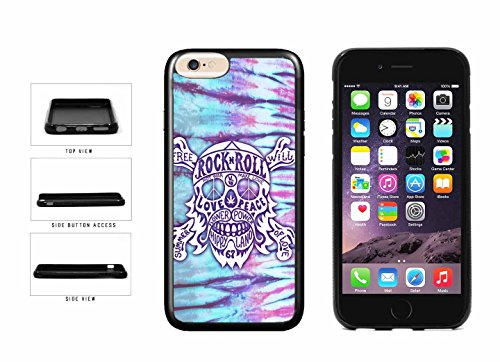 (BleuReign(TM) Hippie Peace Rock N Roll Skull TPU RUBBER Phone Case Back Cover Apple iPhone 6 Plus and iPhone 6s Plus (5.5 inches screen))