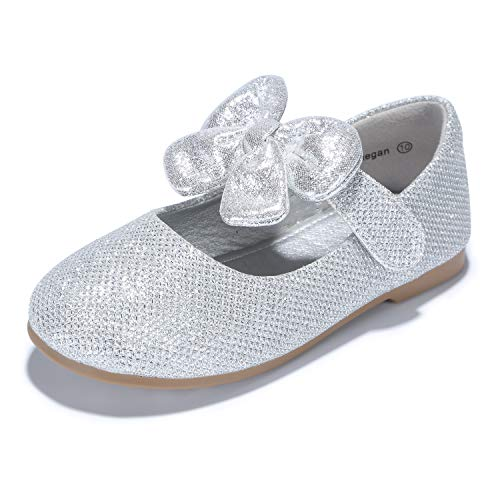 PANDANINJIA Toddler/Little Kid Megan Flower Girl Dress Shoes School Wedding Party Glitter Silver Mary Jane Ballet Flats ()