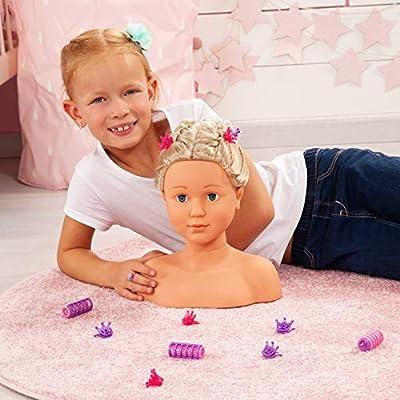 90005AB Bayer Design, Busto muñeca peinar y maquillar con assessorios, Cabeza para Maquillar, cabello rubio: Juguetes y juegos