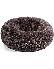 Hund katt rund plysch munk säng, kyckling valp kattunge lugnande kramare varm och mjuk fluffig husdjurssäng för små/medel/stora hundar halkfri botten tvättbar hundsäng