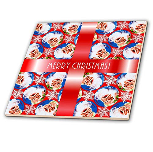 (3dRose Russ Billington Christmas Designs - Image of Santa Wallpaper Background with White Text on Red Ribbon - 8 Inch Ceramic Tile (ct_298881_3))