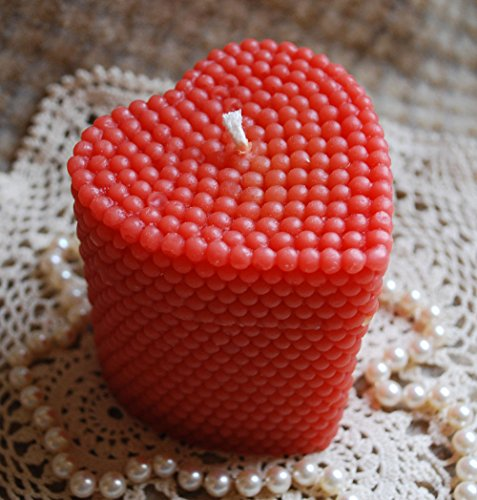 Heart Shaped Pillar Candle - Pure Beeswax Pearl Covered Heart Shaped Pillar Candle in RED
